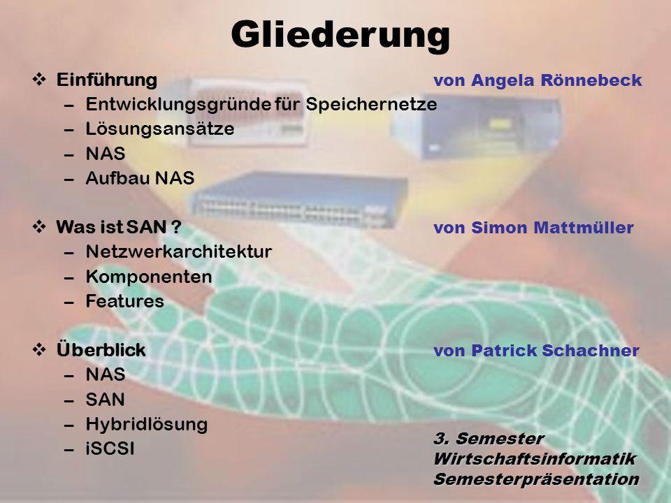 Gliederung 3. Semester Wirtschaftsinformatik Semesterpräsentation Einführung von Angela Rönnebeck –Entwicklungsgründe für Speichernetze –Lösungsansätz