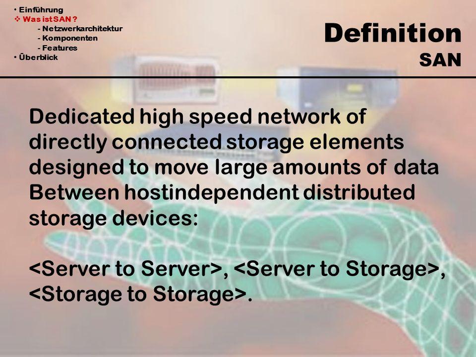 Einführung Was ist SAN ? - Netzwerkarchitektur - Komponenten - Features Überblick Dedicated high speed network of directly connected storage elements
