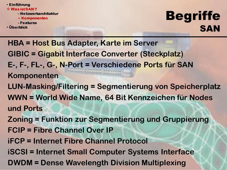 Begriffe SAN HBA = Host Bus Adapter, Karte im Server GIBIC = Gigabit Interface Converter (Steckplatz) E-, F-, FL-, G-, N-Port = Verschiedene Ports für