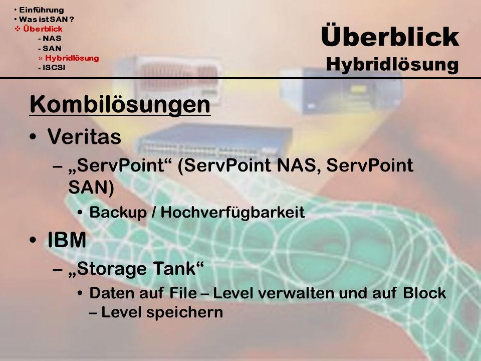 Einführung Was ist SAN ? Überblick - NAS - SAN » Hybridlösung - iSCSI Überblick Hybridlösung Kombilösungen Veritas –ServPoint (ServPoint NAS, ServPoin
