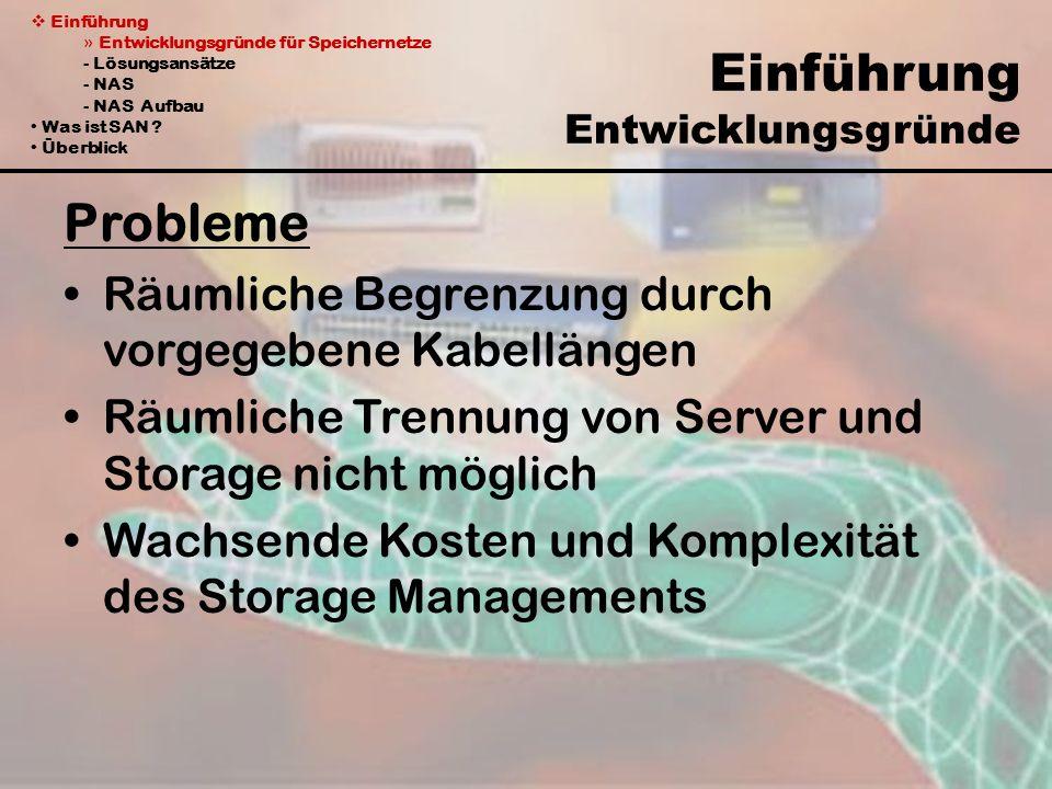 Einführung » Entwicklungsgründe für Speichernetze - Lösungsansätze - NAS - NAS Aufbau Was ist SAN .