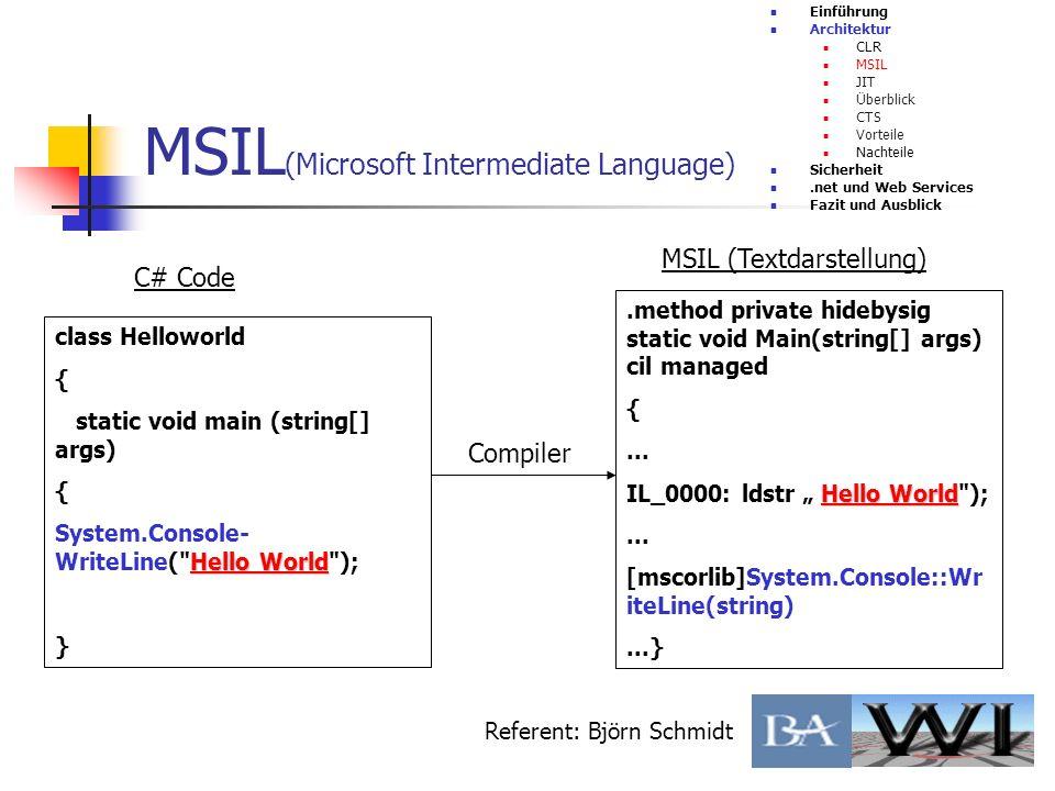 MSIL (Microsoft Intermediate Language) Einführung Architektur CLR MSIL JIT Überblick CTS Vorteile Nachteile Sicherheit.net und Web Services Fazit und