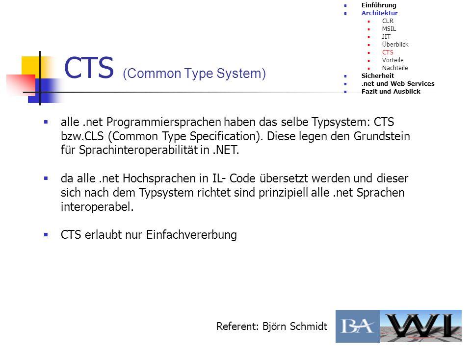 CTS (Common Type System) Einführung Architektur CLR MSIL JIT Überblick CTS Vorteile Nachteile Sicherheit.net und Web Services Fazit und Ausblick Refer