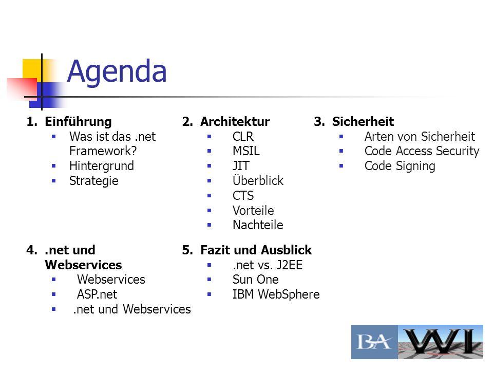 Agenda 1.Einführung Was ist das.net Framework? Hintergrund Strategie 2.Architektur CLR MSIL JIT Überblick CTS Vorteile Nachteile 3.Sicherheit Arten vo