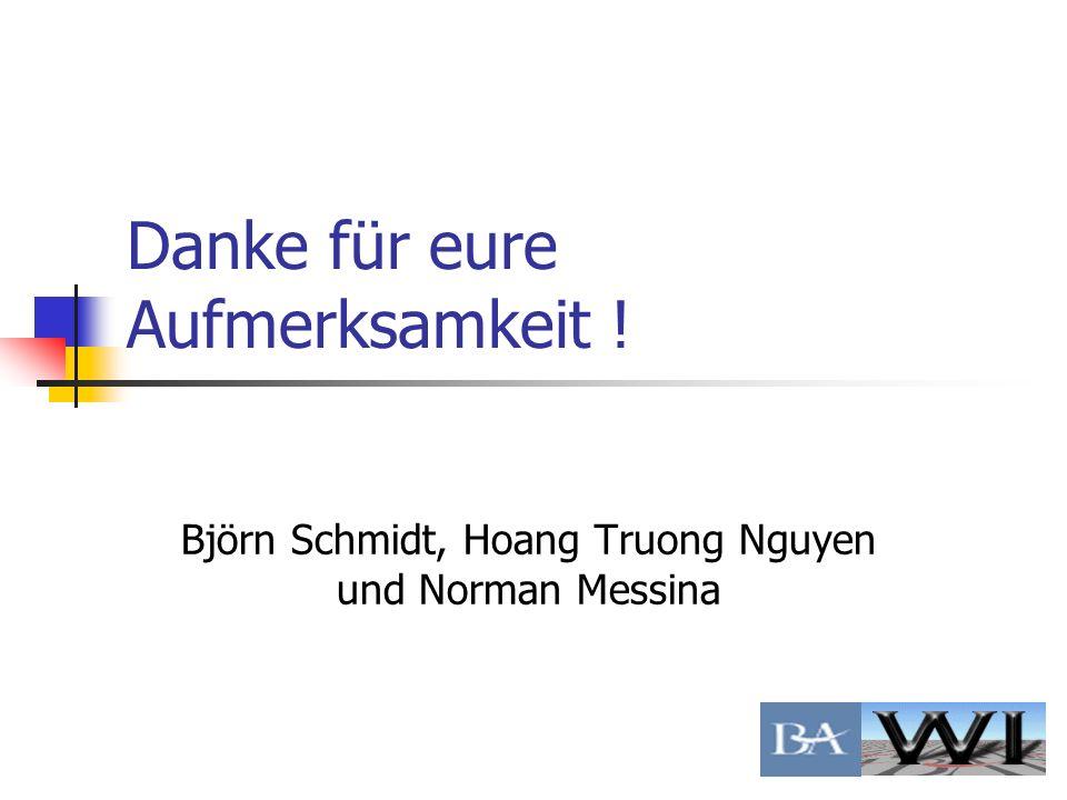 Danke für eure Aufmerksamkeit ! Björn Schmidt, Hoang Truong Nguyen und Norman Messina