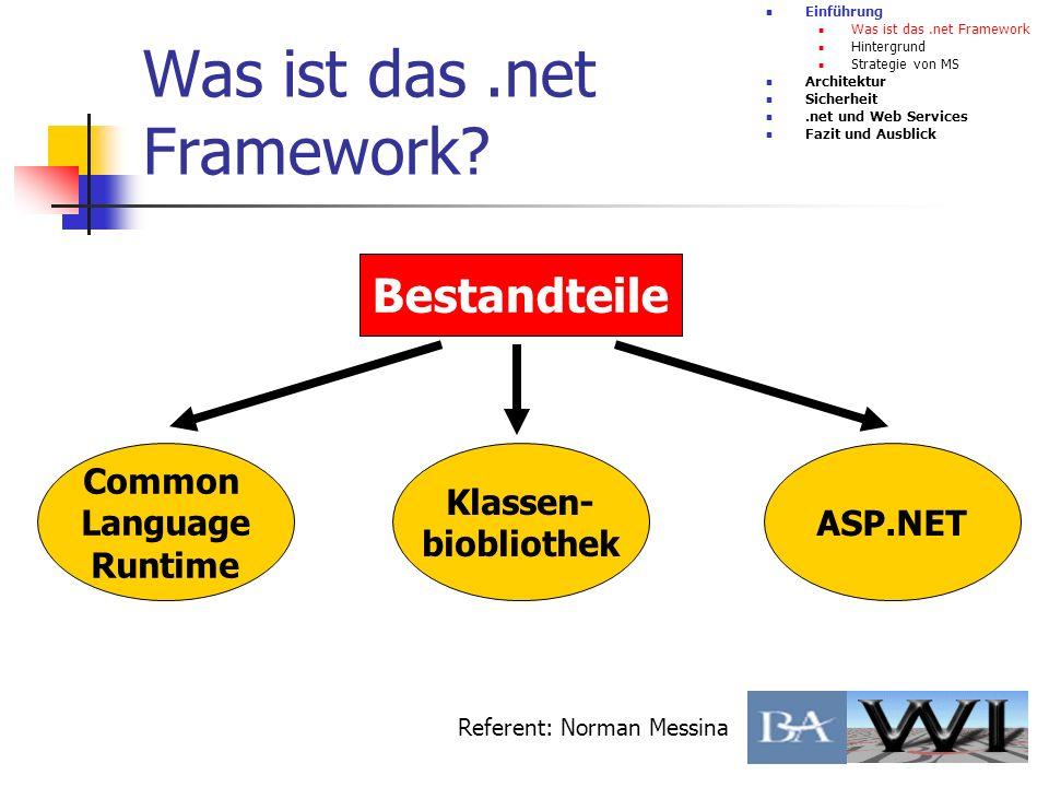Was ist das.net Framework? Einführung Was ist das.net Framework Hintergrund Strategie von MS Architektur Sicherheit.net und Web Services Fazit und Aus