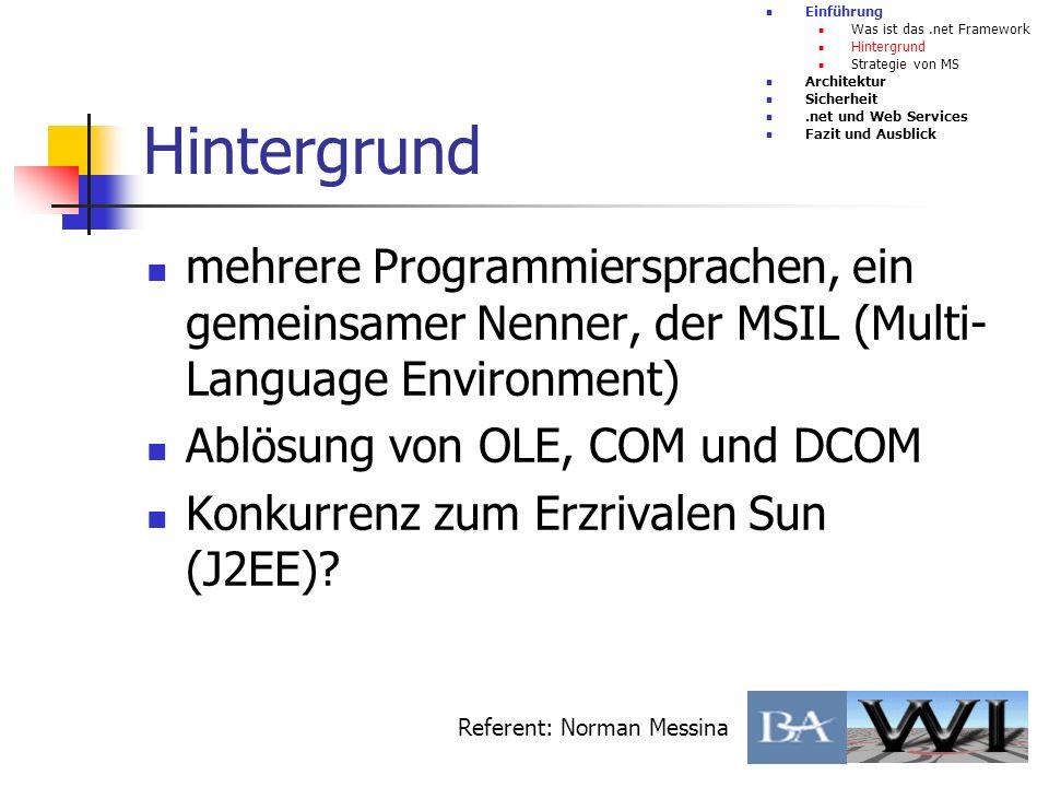 Vorteile Einführung Architektur CLR MSIL JIT Überblick CTS Vorteile Nachteile Sicherheit.net und Web Services Fazit und Ausblick Referent: Björn Schmidt Anwendungen(Assemblies) -> keine.dll und Registry- Einträge Viele Hochsprachen schließen sich an(z.B.
