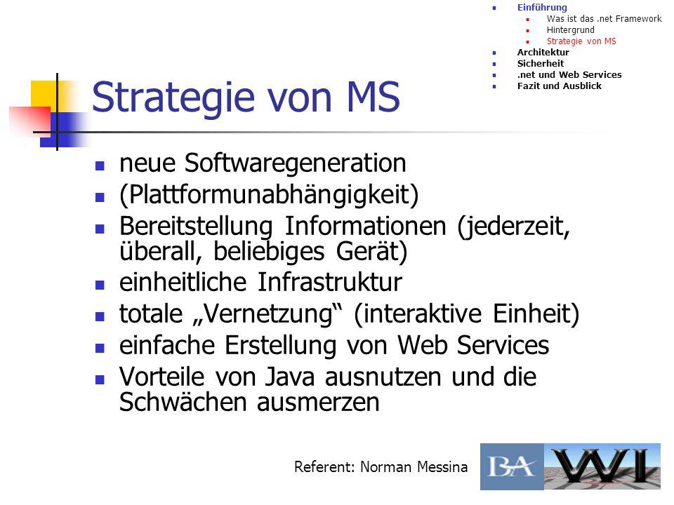 Strategie von MS neue Softwaregeneration (Plattformunabhängigkeit) Bereitstellung Informationen (jederzeit, überall, beliebiges Gerät) einheitliche In