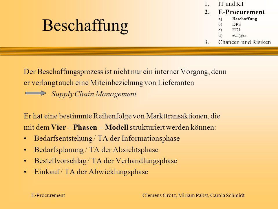 E-Procurement Clemens Grötz, Miriam Pabst, Carola Schmidt Beschaffung Der Beschaffungsprozess ist nicht nur ein interner Vorgang, denn er verlangt auc