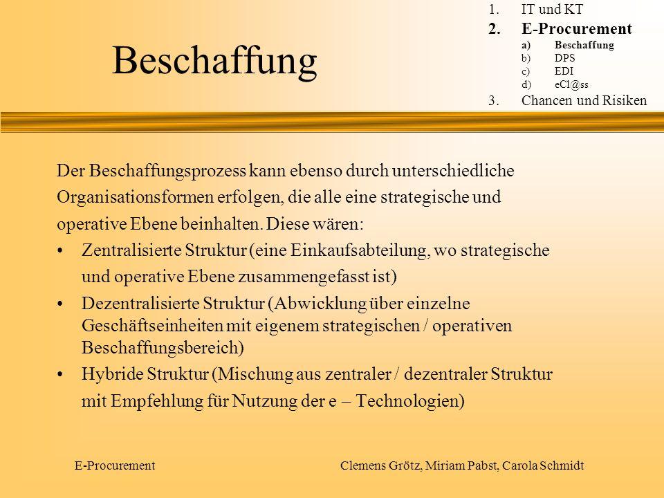 E-Procurement Clemens Grötz, Miriam Pabst, Carola Schmidt DPS Desktop-Purchasing-System 1.IT und KT 2.E-Procurement a)Beschaffung b)DPS c)EDI d)eCl@ss 3.Chancen und Risiken
