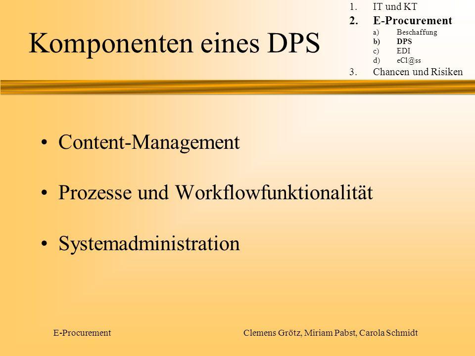 E-Procurement Clemens Grötz, Miriam Pabst, Carola Schmidt Content-Management Pflege des Produktkatalogs Klassifizierung der Inhalte Aggregierung der Inhalte Personalisierung der Inhalte 1.IT und KT 2.E-Procurement a)Beschaffung b)DPS c)EDI d)eCl@ss 3.Chancen und Risiken