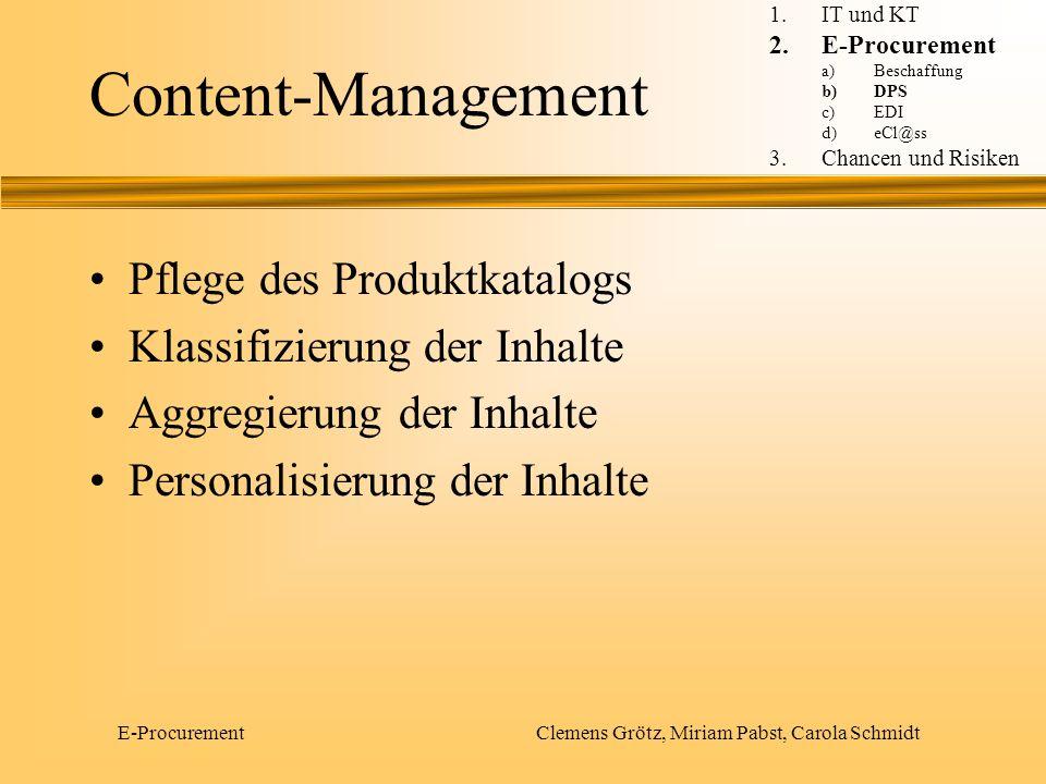 E-Procurement Clemens Grötz, Miriam Pabst, Carola Schmidt Produktsuche Verfügbarkeitsprüfung Autorisierungsworkflow Zuordnung zu Kostenstellen Tracking Prozesse und Workflowfunktionalität 1.IT und KT 2.E-Procurement a)Beschaffung b)DPS c)EDI d)eCl@ss 3.Chancen und Risiken