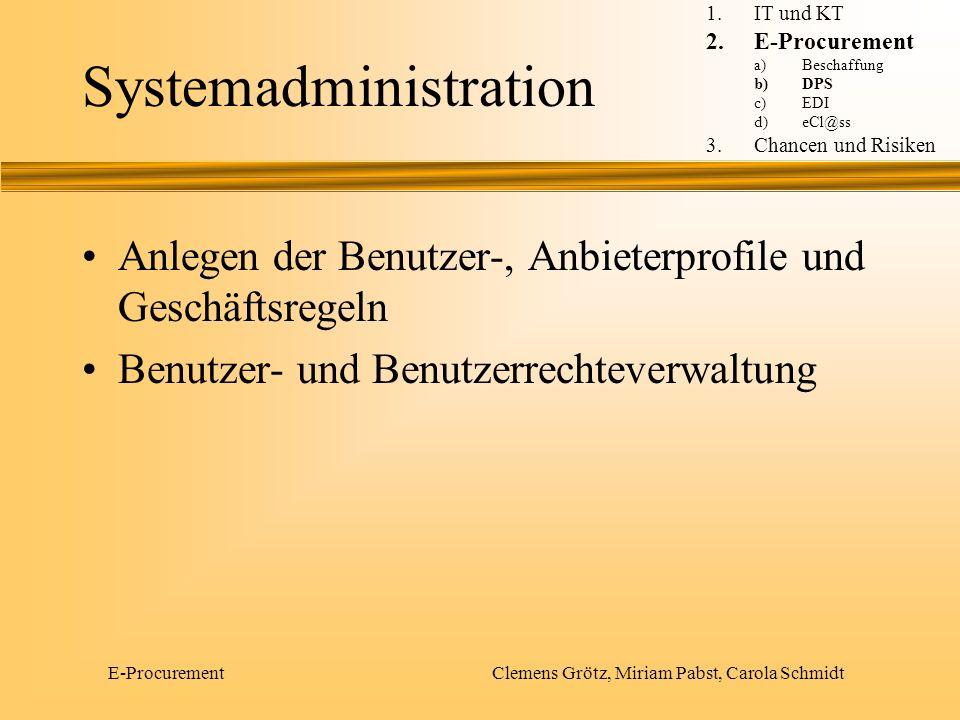 E-Procurement Clemens Grötz, Miriam Pabst, Carola Schmidt Systemadministration Anlegen der Benutzer-, Anbieterprofile und Geschäftsregeln Benutzer- un