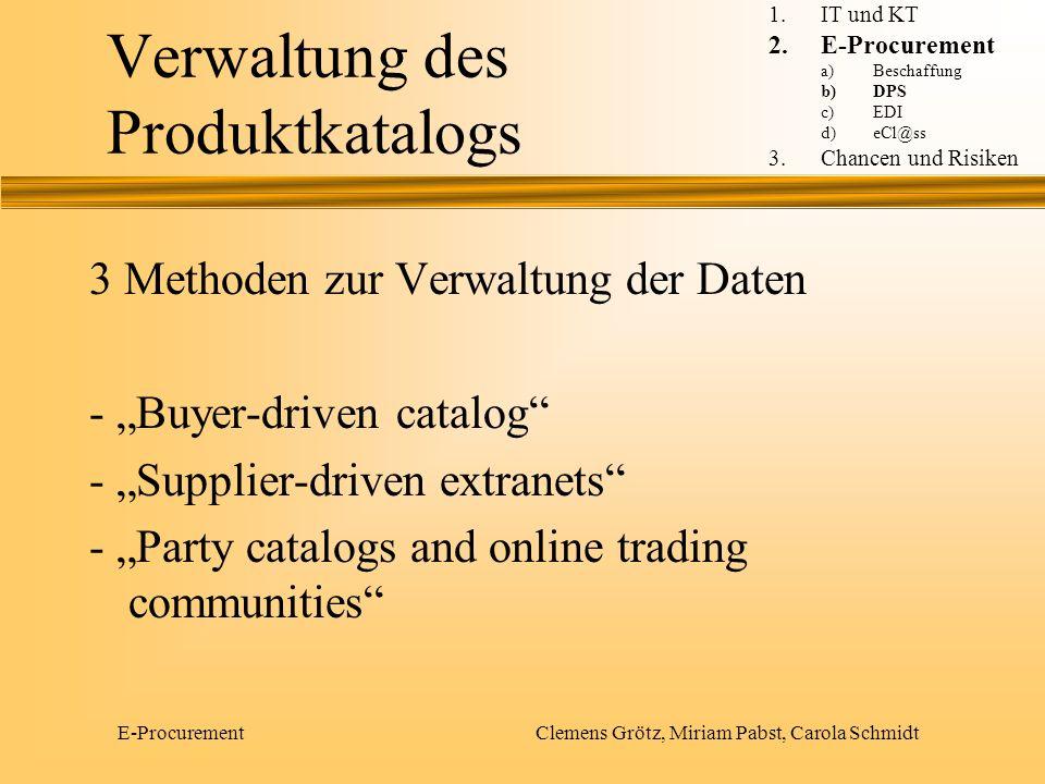 E-Procurement Clemens Grötz, Miriam Pabst, Carola Schmidt Verwaltung des Produktkatalogs 3 Methoden zur Verwaltung der Daten - Buyer-driven catalog -