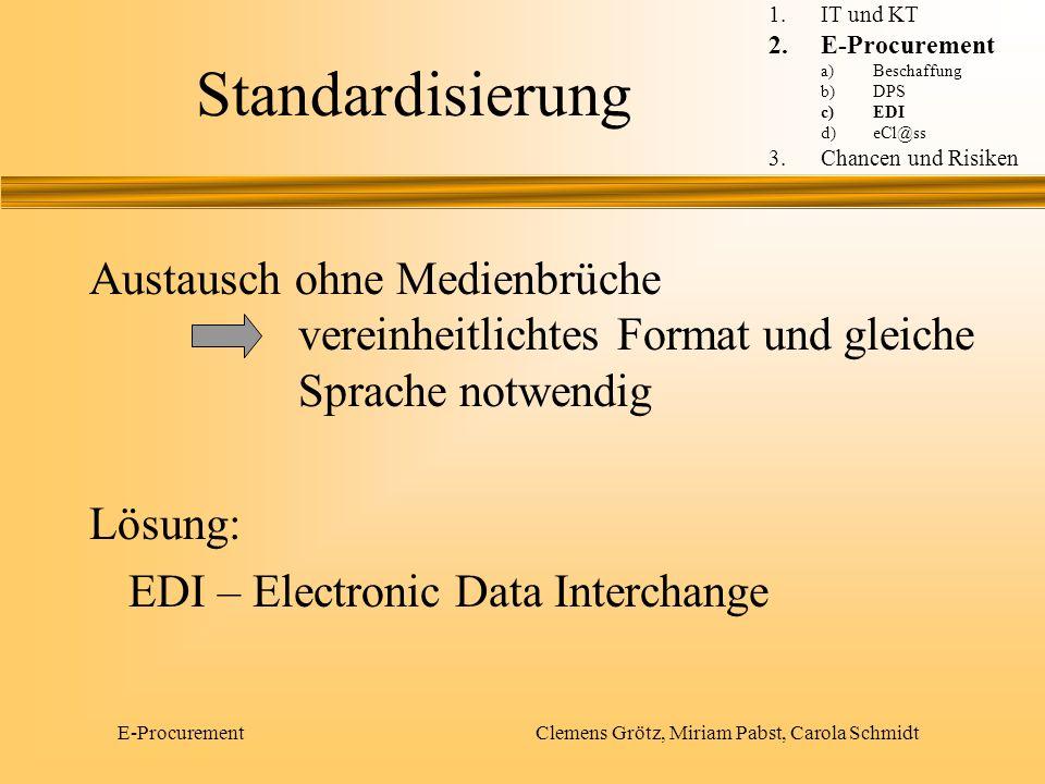 E-Procurement Clemens Grötz, Miriam Pabst, Carola Schmidt Komponenten von EDI EDIEDI EDI - Standard Kommunikation Konverter EDI – Know How 1.IT und KT 2.E-Procurement a)Beschaffung b)DPS c)EDI d)eCl@ss 3.Chancen und Risiken