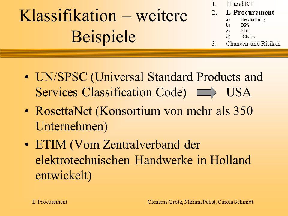 Klassifikation – weitere Beispiele UN/SPSC (Universal Standard Products and Services Classification Code)USA RosettaNet (Konsortium von mehr als 350 U