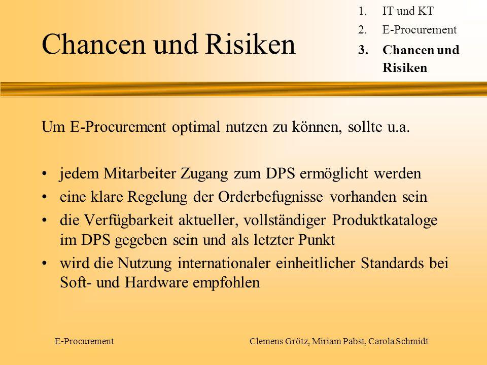 E-Procurement Clemens Grötz, Miriam Pabst, Carola Schmidt Chancen und Risiken Um E-Procurement optimal nutzen zu können, sollte u.a. jedem Mitarbeiter