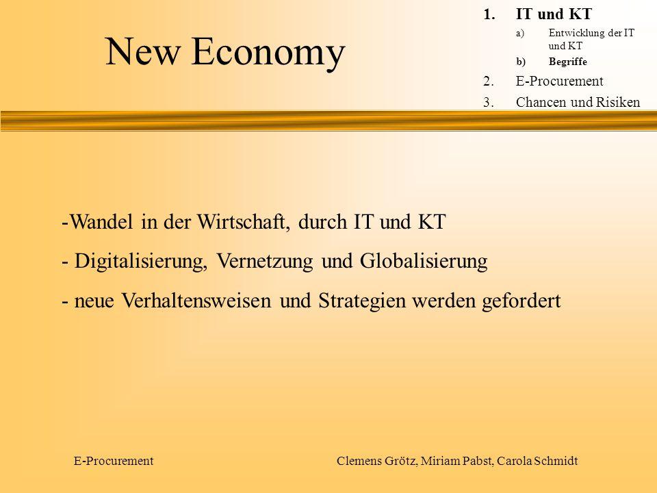 E-Procurement Clemens Grötz, Miriam Pabst, Carola Schmidt New Economy -Wandel in der Wirtschaft, durch IT und KT - Digitalisierung, Vernetzung und Glo