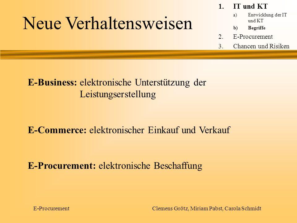 E-Procurement Clemens Grötz, Miriam Pabst, Carola Schmidt Neue Verhaltensweisen E-Business: elektronische Unterstützung der Leistungserstellung E-Comm
