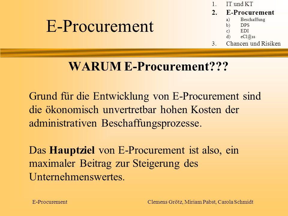 E-Procurement Clemens Grötz, Miriam Pabst, Carola Schmidt WARUM E-Procurement??? Grund für die Entwicklung von E-Procurement sind die ökonomisch unver