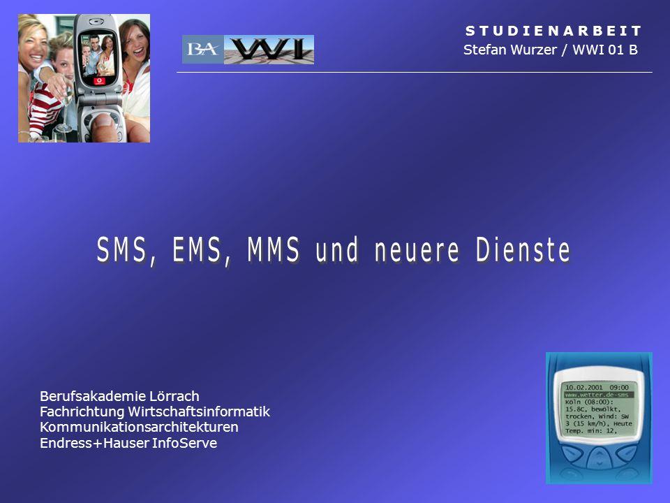 Multimedia Messaging Service (MMS) MMS-Geräte S T U D I E N A R B E I T Stefan Wurzer / WWI 01 B Einführung Dienste SMS EMS MMS Einführung Voraussetzungen Einsatz- Möglichkeiten Technisches MMS-Geräte Nokia 7650 Siemens S55SonyEricsson T68i