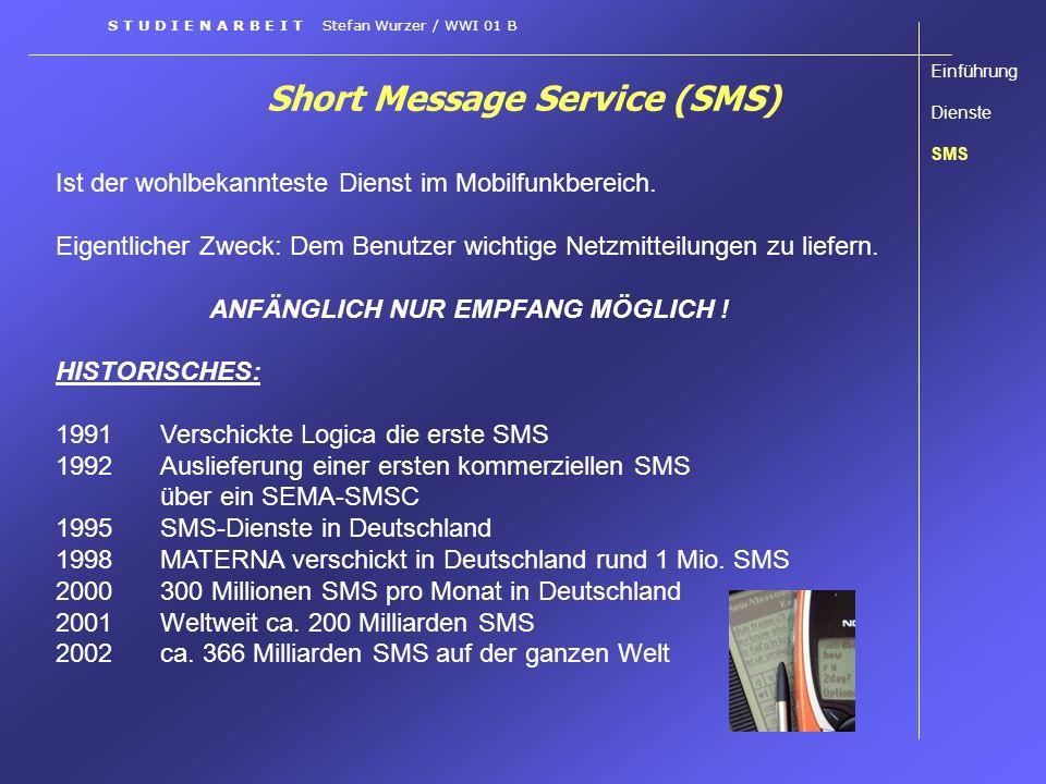 Short Message Service (SMS) Ist der wohlbekannteste Dienst im Mobilfunkbereich. Eigentlicher Zweck: Dem Benutzer wichtige Netzmitteilungen zu liefern.