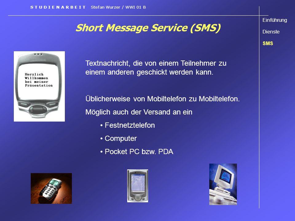 Short Message Service (SMS) Textnachricht, die von einem Teilnehmer zu einem anderen geschickt werden kann. Üblicherweise von Mobiltelefon zu Mobiltel