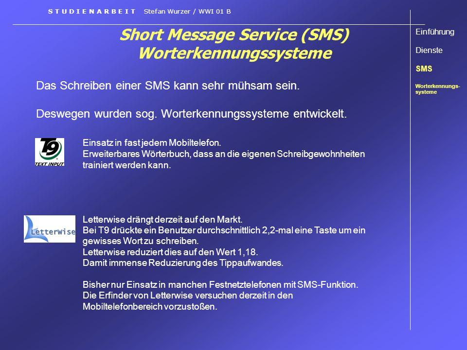 Short Message Service (SMS) Worterkennungssysteme Das Schreiben einer SMS kann sehr mühsam sein. Deswegen wurden sog. Worterkennungssysteme entwickelt