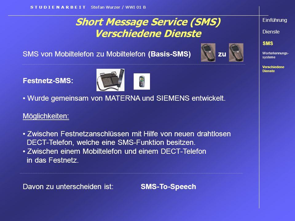 Short Message Service (SMS) Verschiedene Dienste SMS von Mobiltelefon zu Mobiltelefon (Basis-SMS) zu Festnetz-SMS: Wurde gemeinsam von MATERNA und SIE