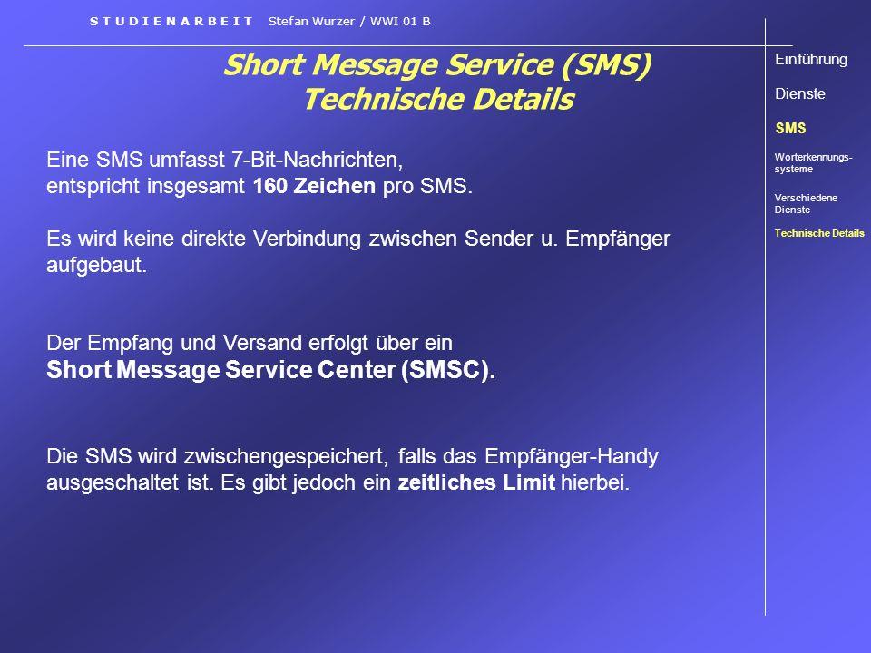 Short Message Service (SMS) Technische Details Eine SMS umfasst 7-Bit-Nachrichten, entspricht insgesamt 160 Zeichen pro SMS. Es wird keine direkte Ver