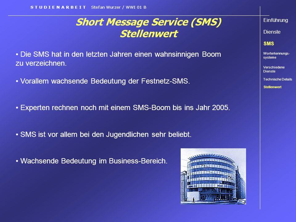 Short Message Service (SMS) Stellenwert Die SMS hat in den letzten Jahren einen wahnsinnigen Boom zu verzeichnen. Vorallem wachsende Bedeutung der Fes
