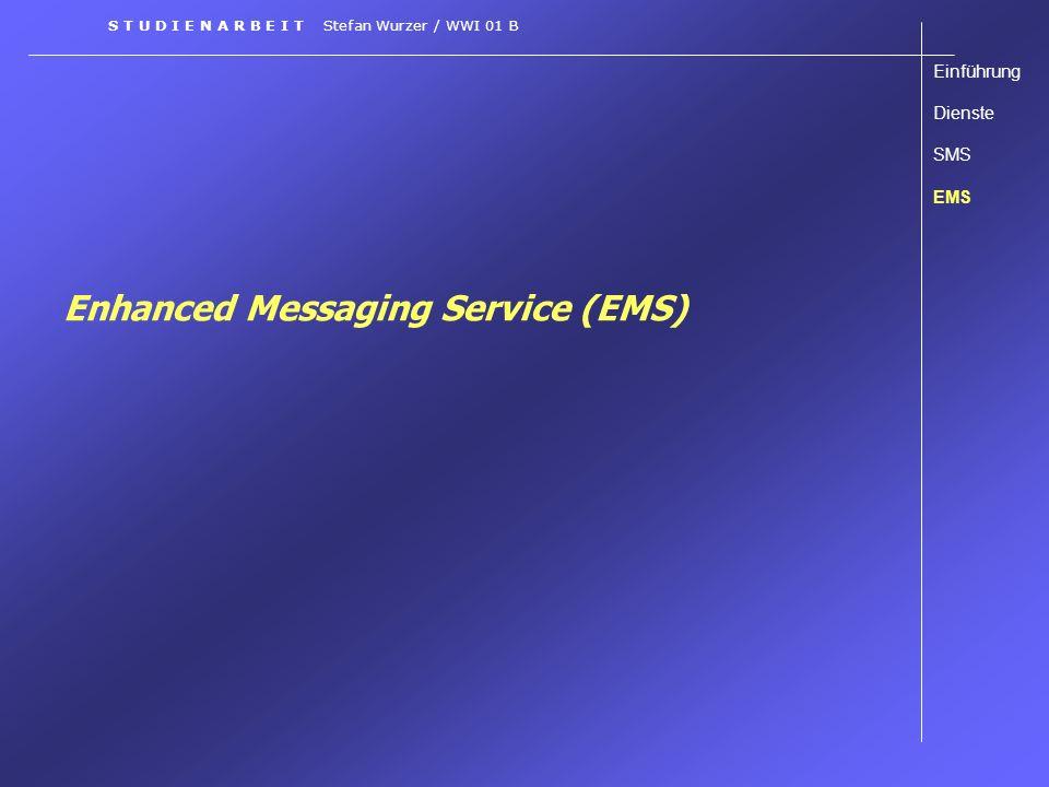 Enhanced Messaging Service (EMS) Einführung Dienste SMS EMS S T U D I E N A R B E I T Stefan Wurzer / WWI 01 B