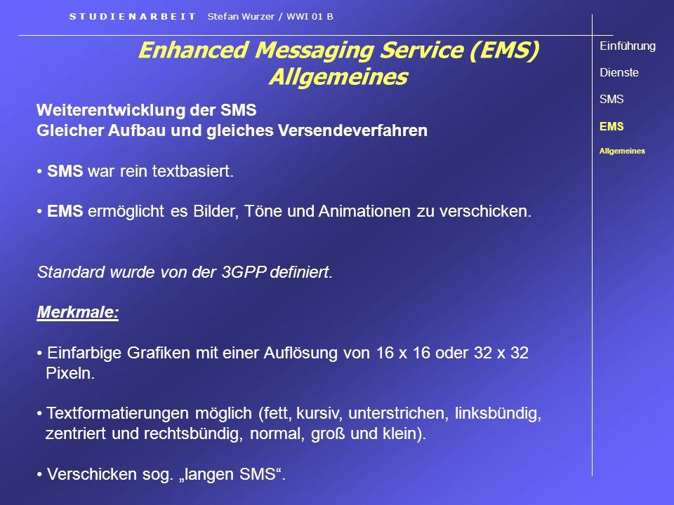 Enhanced Messaging Service (EMS) Allgemeines Weiterentwicklung der SMS Gleicher Aufbau und gleiches Versendeverfahren SMS war rein textbasiert. EMS er