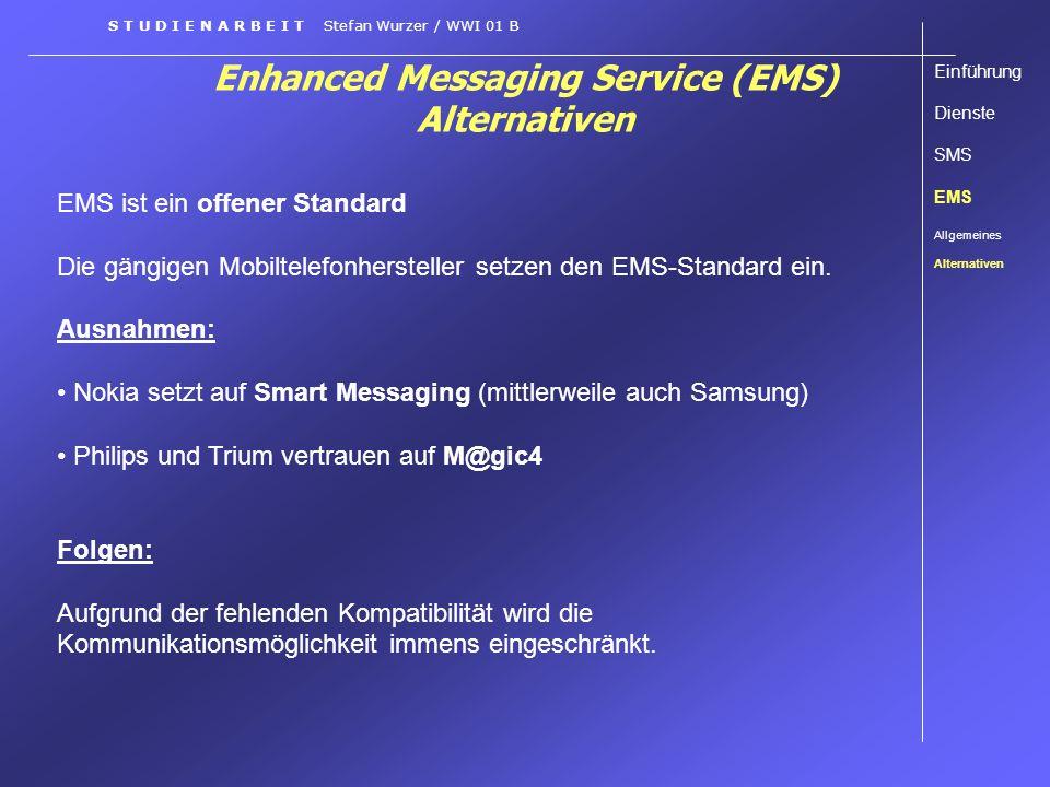 Enhanced Messaging Service (EMS) Alternativen EMS ist ein offener Standard Die gängigen Mobiltelefonhersteller setzen den EMS-Standard ein. Ausnahmen: