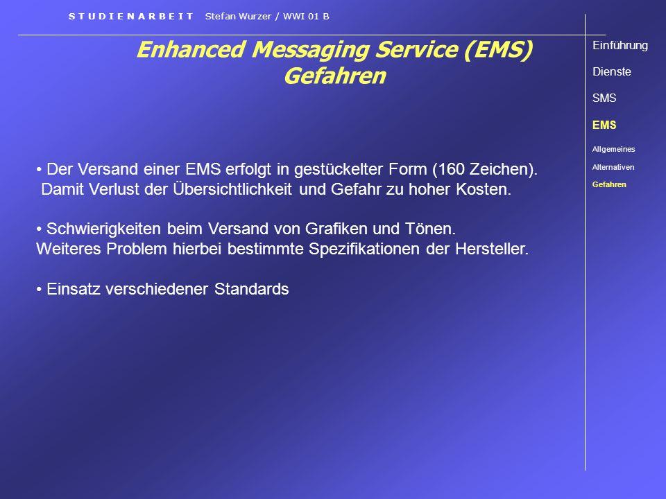 Enhanced Messaging Service (EMS) Gefahren Einführung Dienste SMS EMS Allgemeines Alternativen Gefahren S T U D I E N A R B E I T Stefan Wurzer / WWI 0