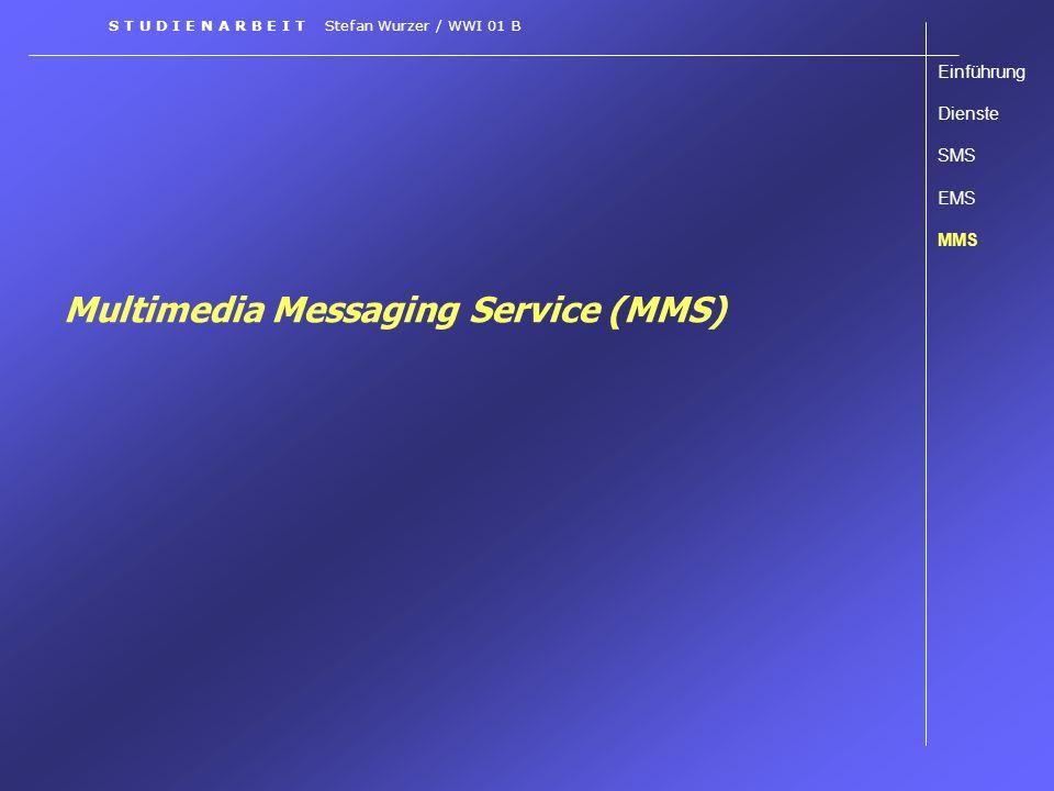 Multimedia Messaging Service (MMS) Einführung Dienste SMS EMS MMS S T U D I E N A R B E I T Stefan Wurzer / WWI 01 B