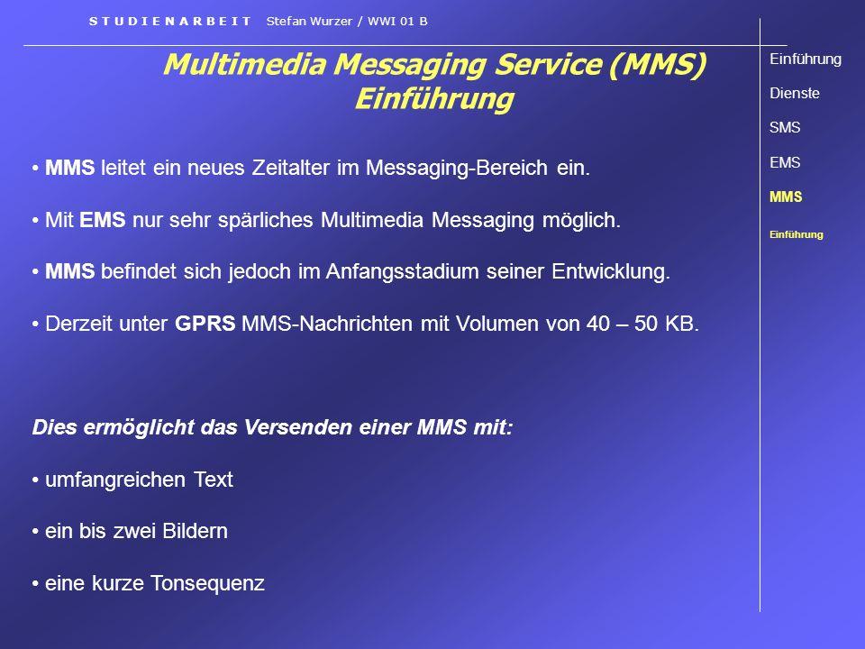 Multimedia Messaging Service (MMS) Einführung Einführung Dienste SMS EMS MMS Einführung S T U D I E N A R B E I T Stefan Wurzer / WWI 01 B MMS leitet