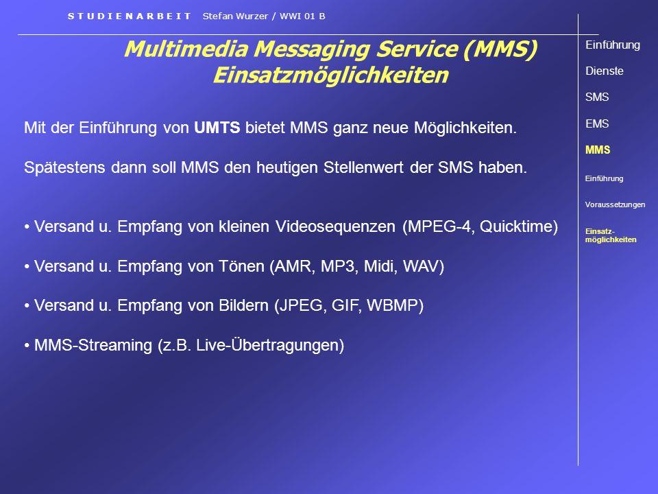 Multimedia Messaging Service (MMS) Einsatzmöglichkeiten Einführung Dienste SMS EMS MMS Einführung Voraussetzungen Einsatz- möglichkeiten S T U D I E N