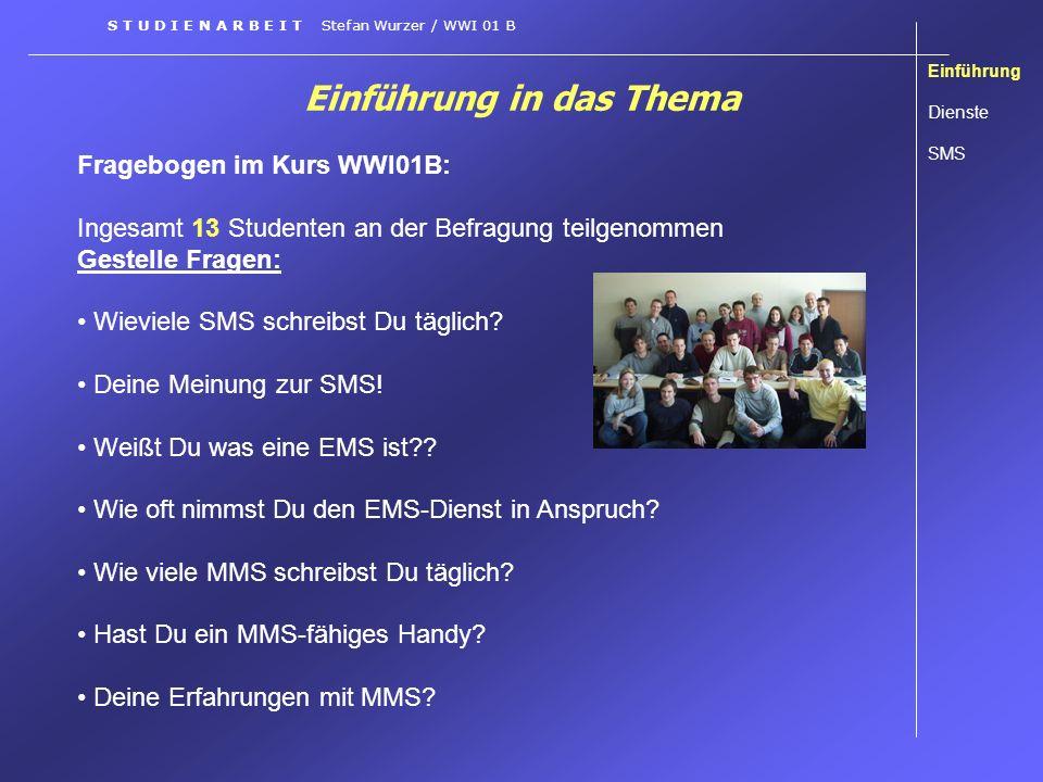Einführung in das Thema Fragebogen im Kurs WWI01B: Ingesamt 13 Studenten an der Befragung teilgenommen Gestelle Fragen: Wieviele SMS schreibst Du tägl