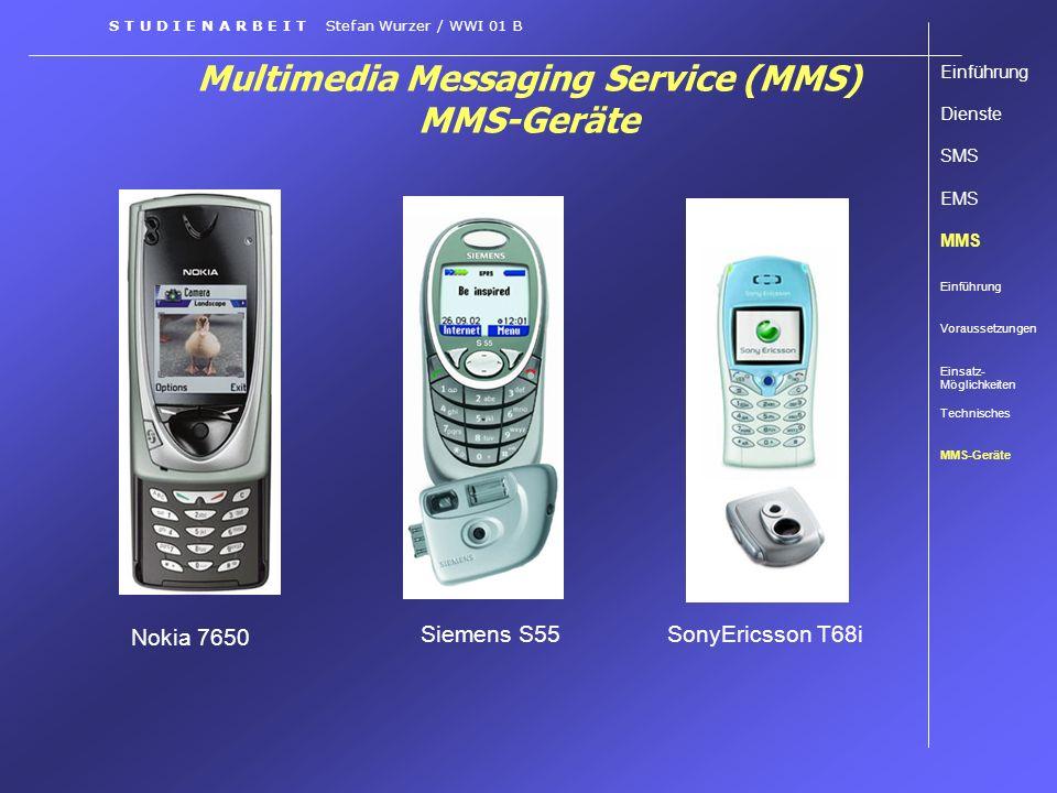 Multimedia Messaging Service (MMS) MMS-Geräte S T U D I E N A R B E I T Stefan Wurzer / WWI 01 B Einführung Dienste SMS EMS MMS Einführung Voraussetzu