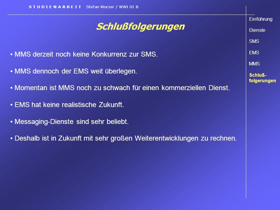 Schlußfolgerungen S T U D I E N A R B E I T Stefan Wurzer / WWI 01 B MMS derzeit noch keine Konkurrenz zur SMS. MMS dennoch der EMS weit überlegen. Mo