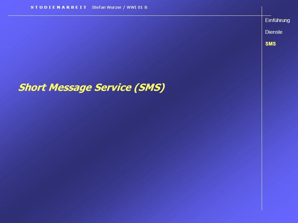 Multimedia Messaging Service (MMS) Technisches Einführung Dienste SMS EMS MMS Einführung Voraussetzungen Einsatz- Möglichkeiten Technisches S T U D I E N A R B E I T Stefan Wurzer / WWI 01 B Einsatz eines MMS-Centers (MMS-C) MMS-Relay-Proxy MMS-Speicher MMS-Server MMS-C WAP-Server Content-Server SMS-C