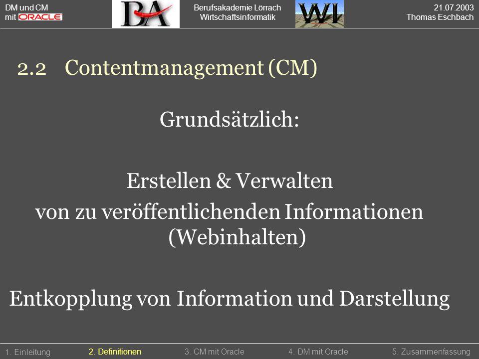 Berufsakademie Lörrach Wirtschaftsinformatik 2.2Contentmanagement (CM) 1. Einleitung 5. Zusammenfassung2. Definitionen3. CM mit Oracle4. DM mit Oracle