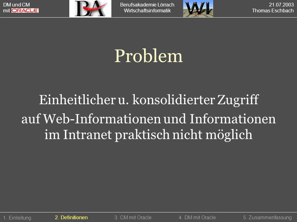 Berufsakademie Lörrach Wirtschaftsinformatik 1. Einleitung 5. Zusammenfassung4. DM mit Oracle2. Definitionen3. CM mit Oracle DM und CM mit Problem Ein