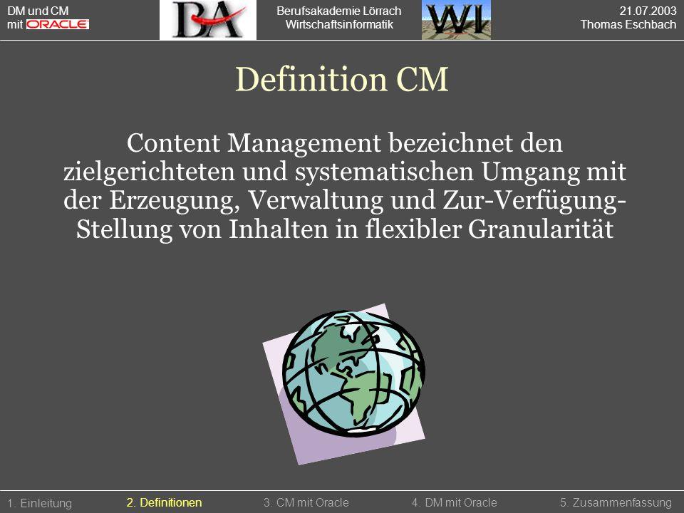 Berufsakademie Lörrach Wirtschaftsinformatik 1. Einleitung 5. Zusammenfassung4. DM mit Oracle2. Definitionen3. CM mit Oracle DM und CM mit Definition