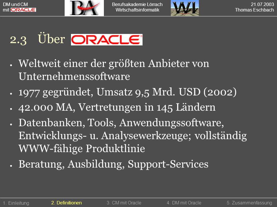 Berufsakademie Lörrach Wirtschaftsinformatik 2.3Über 1. Einleitung 5. Zusammenfassung2. Definitionen3. CM mit Oracle4. DM mit Oracle Weltweit einer de