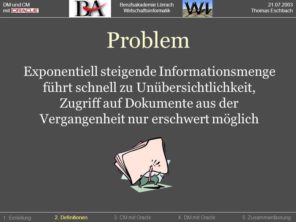 Berufsakademie Lörrach Wirtschaftsinformatik 1. Einleitung 5. Zusammenfassung2. Definitionen3. CM mit Oracle4. DM mit Oracle Problem Exponentiell stei