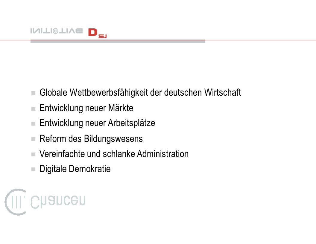 n Globale Wettbewerbsfähigkeit der deutschen Wirtschaft n Entwicklung neuer Märkte n Entwicklung neuer Arbeitsplätze n Reform des Bildungswesens n Ver