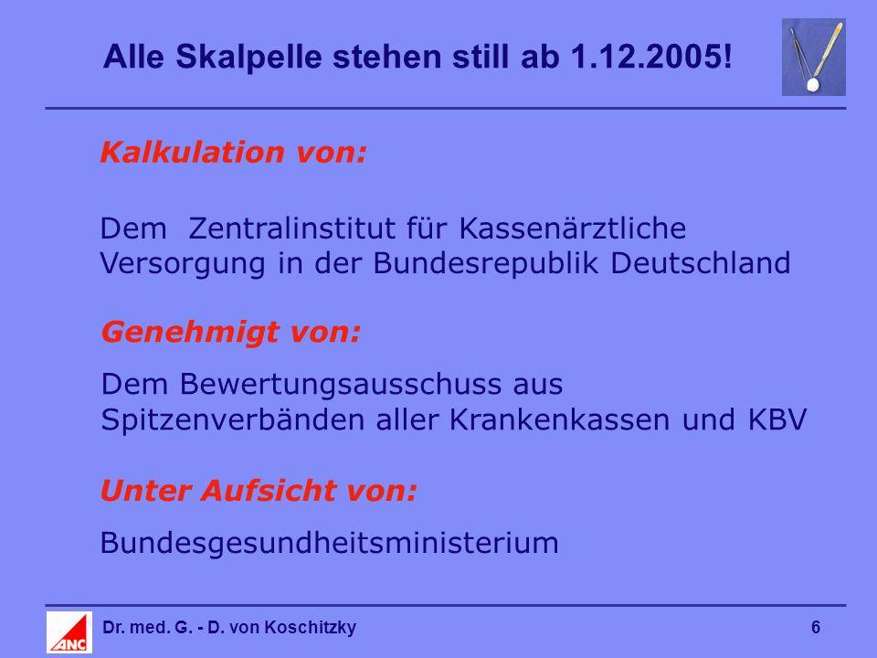 Alle Skalpelle stehen still ab 1.12.2005. Dr. med.
