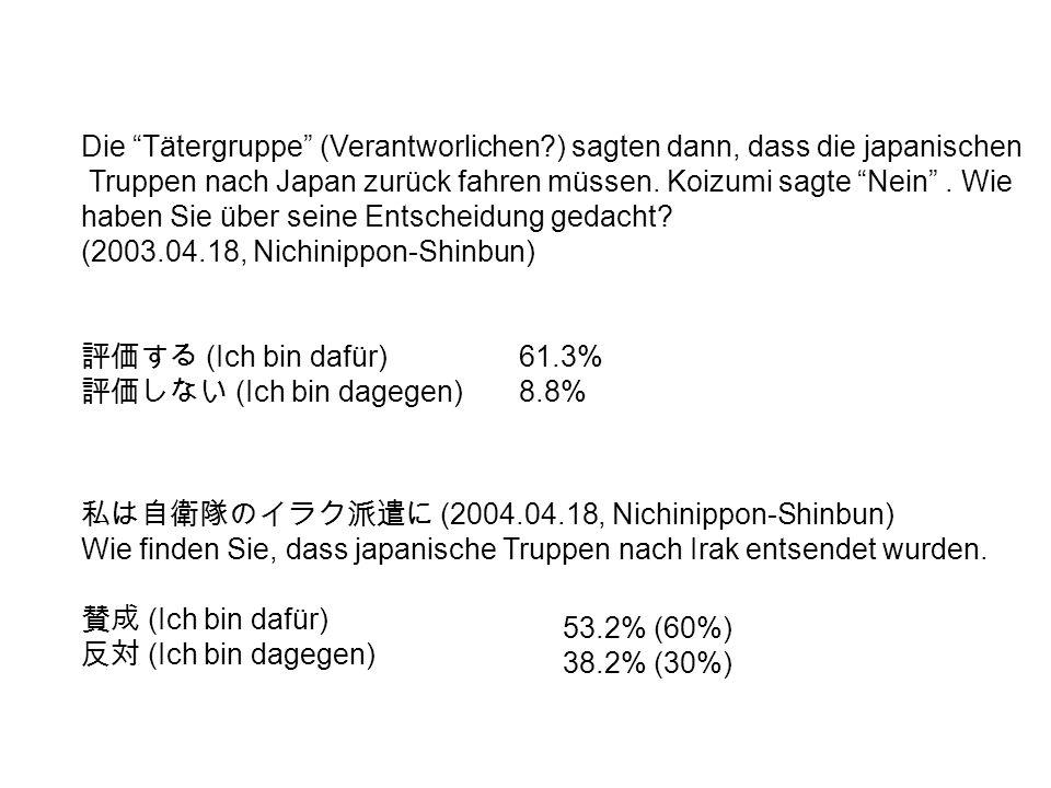 (2004.04.18, Nichinippon-Shinbun) Wie finden Sie, dass japanische Truppen nach Irak entsendet wurden.